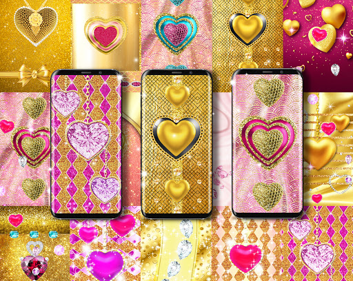 Golden luxury diamond hearts live wallpaper apktram screenshots 9