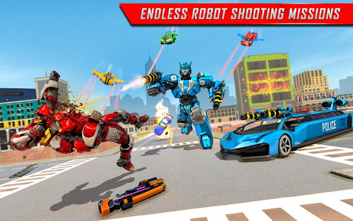 Flying Limo Robot Car Transform: Police Robot Game  screenshots 8