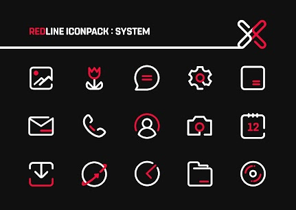 RedLine Icon Pack Pro Apk: LineX 2.7 (Patched) 1
