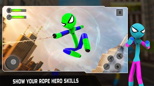 Flying Stickman Rope Hero: Flying Hero: Crime City screenshots 1
