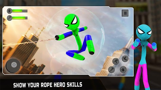 Flying Hero Stickman Rope Hero Grand Crime City 1