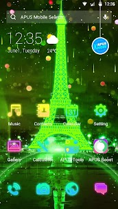 Neon Green Eiffel Tower-APUS Launcher theme 77.0.1001 Mod APK Updated Android 2