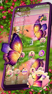 Butterfly Girl Nature Launcher Theme