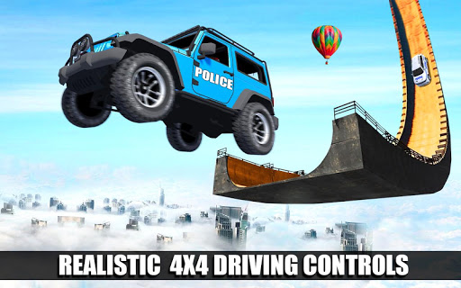 Police Spooky Jeep Stunt Game: Mega Ramp 3D apkpoly screenshots 11
