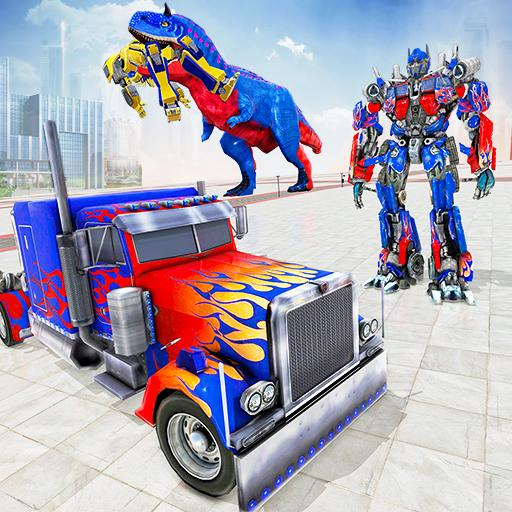 Game robot truk polisi - game dinosaurus