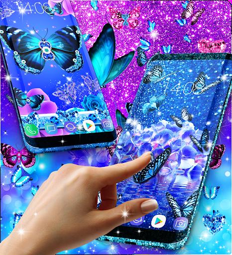 Blue glitter butterflies live wallpaper apktram screenshots 21