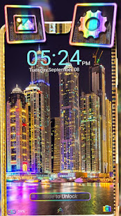 Dubai Night Skyline Theme Launcher