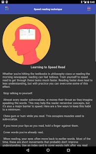 Speed reading technique