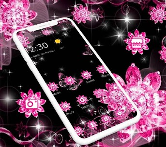 Pink Black Glitter Diamond Flower Sparkling Theme 1.1.3 [MOD APK] Latest 3