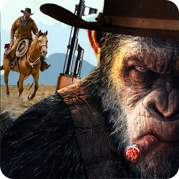 Screenshot 1 de Apes Age Vs Wild West Cowboy: Survival Game para android