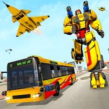 Bus Robot Car Transform: Flying Air Jet Robot Game APK