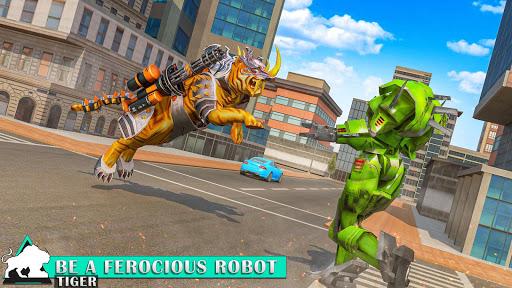 Flying Tiger Robot Attack: Flying Bike Robot Game apktram screenshots 10