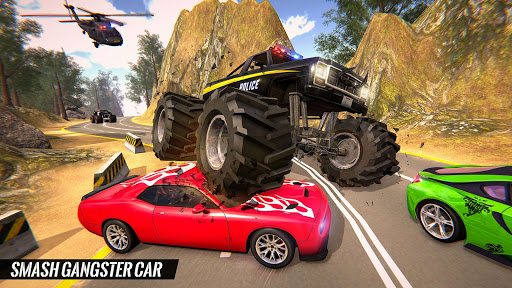 US Police Monster Truck Gangster Car Chase Games  screenshots 2