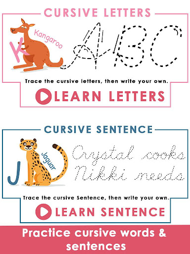 Kids Learn Cursive Writing - Cursive For Toddlers apkpoly screenshots 12