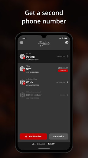 Hushed - Second Phone Number - Calling and Texting  screenshots 1