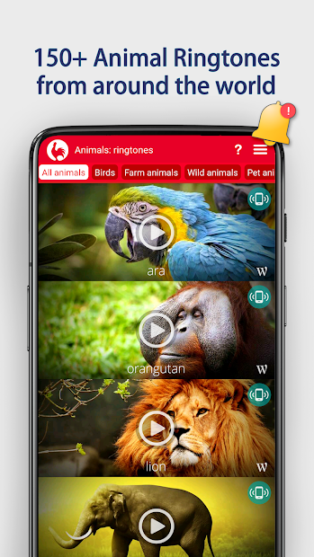 Animals: Ringtones Android App Screenshot