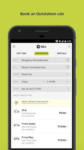 Ola Lite: Lighter Faster Ola App. Book Taxi & Cabs  Screenshots 5