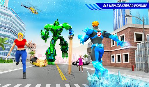 Flying Police Robot Snow Storm Hero: Crime City apktram screenshots 11