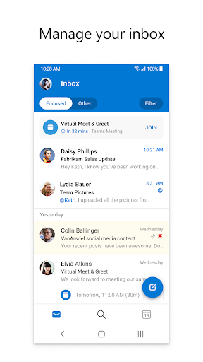 Microsoft Outlook: Secure email, calendars & files 4.2105.3 screenshots 1