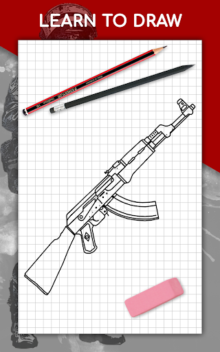 How to draw weapons step by step, drawing lessons  screenshots 17