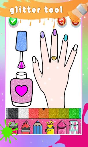 Glitter Nail Drawing Book and Coloring Game 5.0 Screenshots 3