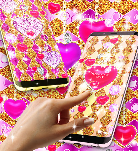 Golden luxury diamond hearts live wallpaper apktram screenshots 22