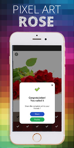 Rose Flower Pixel Coloring By Number  screenshots 4