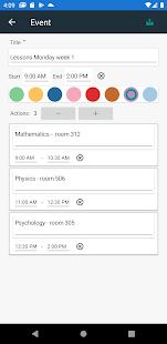 Schedule planner: calendar for students/workers