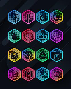 Lines Hexa - Neon Icon Pack - Screenshot 4