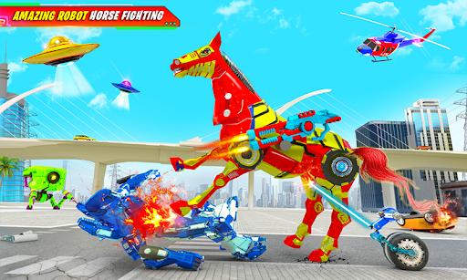 Flying Muscle Car Robot Transform Horse Robot Game apktram screenshots 1