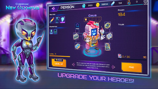 Cyberpunk: New Olympus Idle RPG 5v5 AFK battle apktram screenshots 4