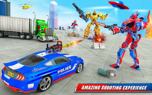 US Police Car Real Robot Transform: Robot Car Game android2mod screenshots 11
