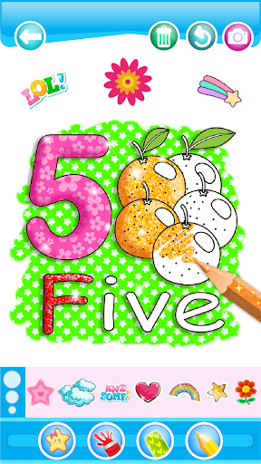 Glitter Number and letters coloring Book for kids 3.8 Screenshots 5