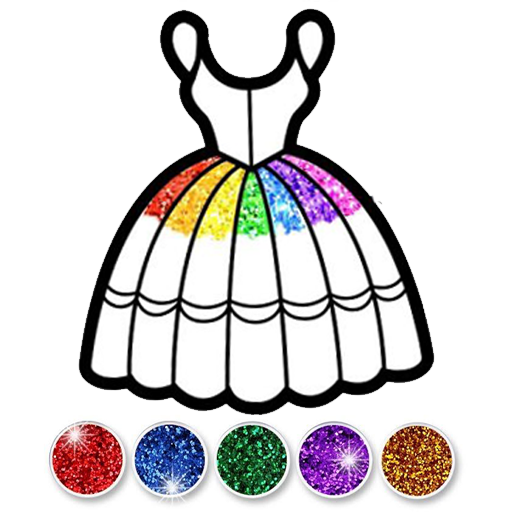 Glitter Dress Coloring And Drawing