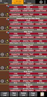 Database for Super Ball Dragon TCG