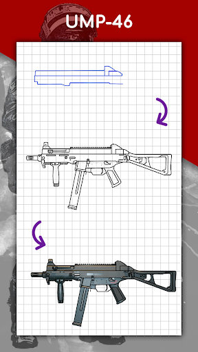 How to draw weapons step by step, drawing lessons  screenshots 8