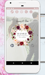 Wedding Countdown Boho Vintage Flower Widget