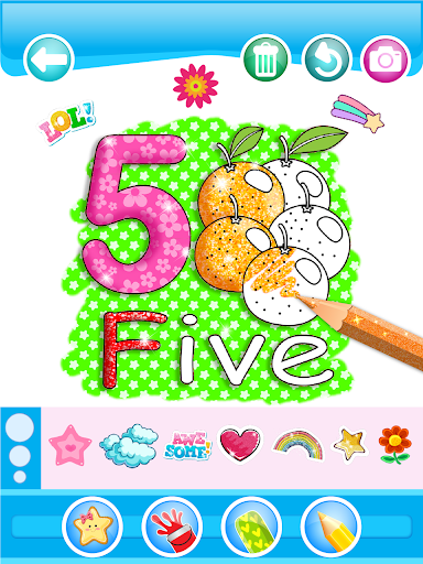 Glitter Number and letters coloring Book for kids 3.8 Screenshots 19