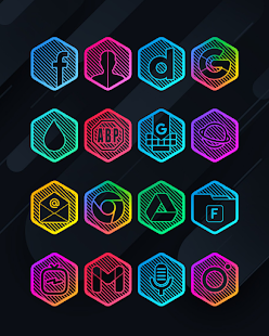 Lines Hexa - Neon Icon Pack - Screenshot 9
