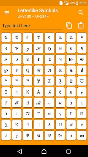 character pad - unicode screenshot 1