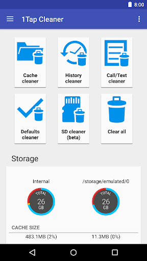1Tap Cleaner (clear cache, and history log) screenshots 1