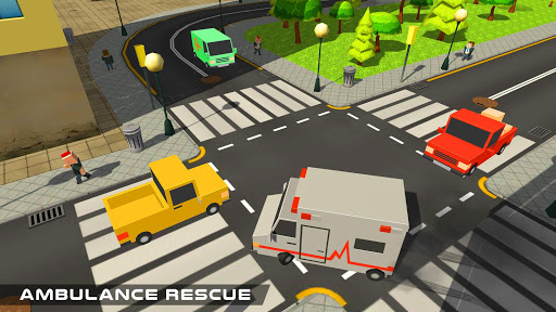 Blocky US Fire Truck & Army Ambulance Rescue Game apkmr screenshots 12