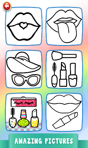 Beauty Drawing Pages Make Up Coloring Book Glitter  Screenshots 3