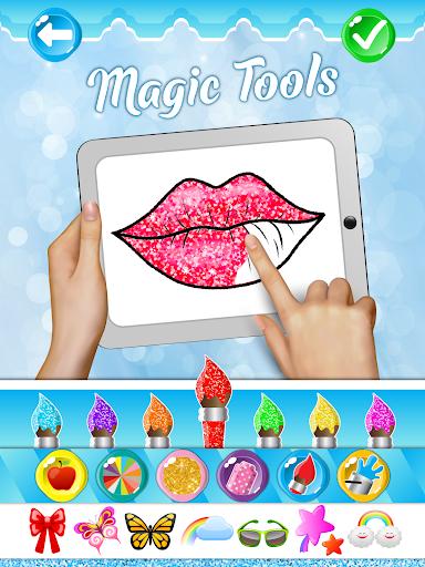 Glitter Lips with Makeup Brush Set coloring Game 2.2 APK screenshots 4