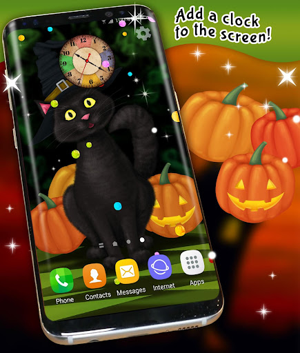 halloween wallpaper 🎃 black cat live wallpapers screenshot 3