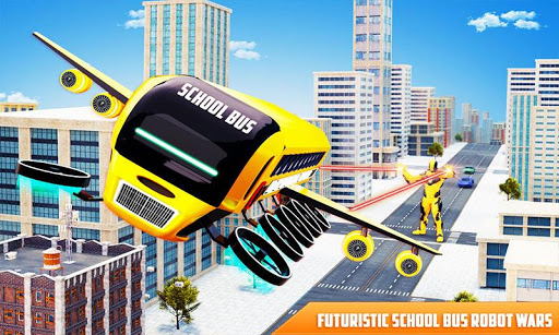 Flying School Bus Robot: Hero Robot Games apkmr screenshots 1