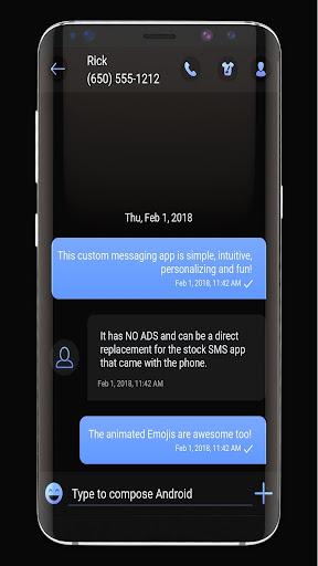 Dark Mode SMS Messenger Theme apktram screenshots 1