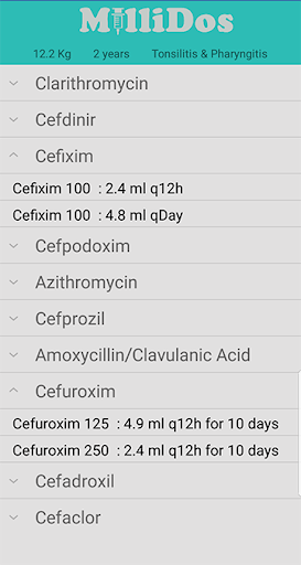 Millidos - Pediatric Drug Dosages  Screenshots 4