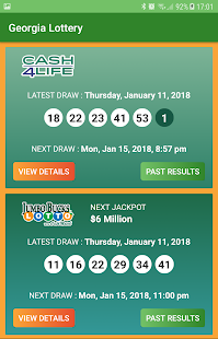 Georgia Lottery Results Screenshot