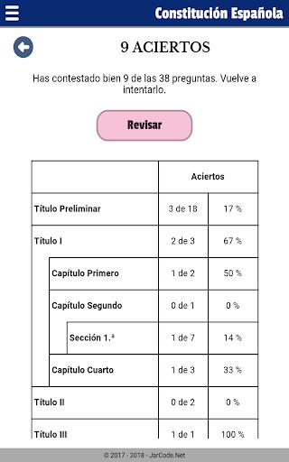 Tests oposiciu00f3n constituciu00f3n Espau00f1ola apktram screenshots 14